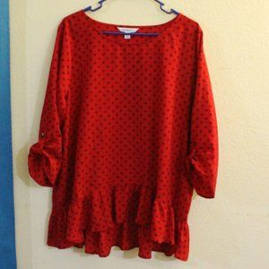 Croft&Barrow Red and Black Ruffled Blouse Size XL